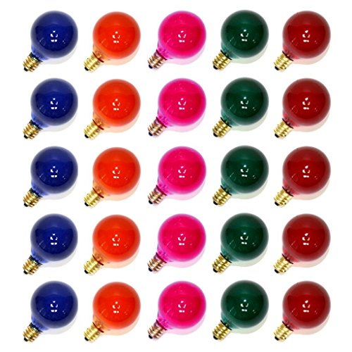 25PC G40 Bulbs Frosted Multi-Color Globe Bulbs Candelabra Screw Base E12 Light Bulbs, 5W Warm Replacement Glass Bulbs for G40 Strands, UL Listed for Indoor and Outdoor Commercial Uses]()