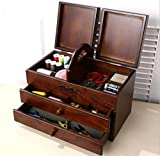 GFYWZ Woody Retro Creative Needle and thread storage box Desktop items Finishing box Drawer style , 35cm20cm22.5cm