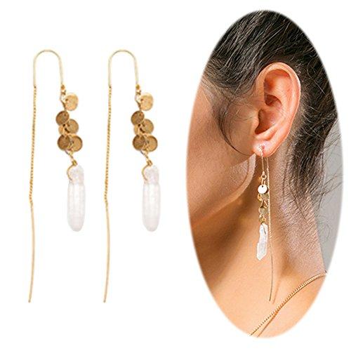 Earrings Dangle Threader Jewelry (Threader Drop Earring Dangle Ear Long Bar Chandelier Tassel Chain Retro Triangle Crystal Ear Line Jewelry Stone)
