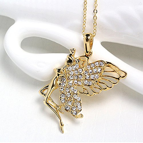 Dancing Girl Necklace,Haluoo Women Fashion Gold Plated Rhinestone Angel Girl Pendant Necklace Ladies Dainty Openwork Wings Iced Out Sweater Chain Necklace Stylish Women Jewelry18+3″ Chain (Gold)