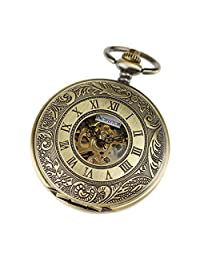 PACIFISTOR Mens Double Hunter Stainless Steel Semi Automatic Mechanical Skeleton Dial Bronze Pocket Watch