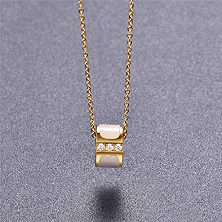 Metal Color: Gold-Color, Main Stone Color: White Davitu 316L Stainless Steel Gold-Color Crystal Pendant Necklace Link Chain Necklace for Women P47