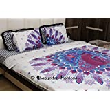 Indian Mandala Peacock Feather Reversible Duvet Quilt Cover Bedding Bohemian Decor Twin Size Boho Bed Cover