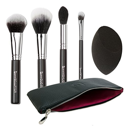 Contour Highlighter Makeup Brush Set - Best 5 pc Powder Crea