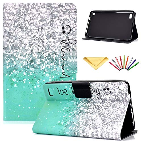 F i re 7 Tablet 7 inch Case (7th Generation, 2017 and 5th Generation, 2015), Uliking Synthetic Leather Wallet Folio Stand Soft Rubber Magnetic Closure TPU Cover with Card Holder Pocket, Happy Green]()