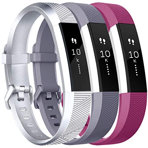 Vancle Bands Replacement for Fitbit Alta HR and Fitbit Alta (3 Pack), Newest Sport Replacement Wristbands with Secure Metal Buckle for Fitbit Alta HR/Fitbit Alta (Silver Gray Fuchsia, Large)