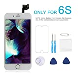 iPhone 6S Screen Replacement Giorefix 3D Touch LCD Display Digitizer Full Pre-Assembled Kit (Include Home Button, Front Camera, Ear Speaker, etc) with Repair Tools and Screen Protector - White