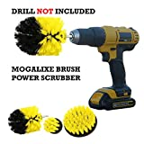 Mogalixe 3-piece drill brush attachment - yellow cleaning brush set, power scrubber bathroom, grout, tile, tub, and more - kit includes 4 inch round, 3.5-inch dome and 2 inch round brushes