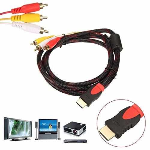 5ft HDMI Male to 3 RCA Video Audio AV Cable Adapter For 1080P HDTV DVD (black red)