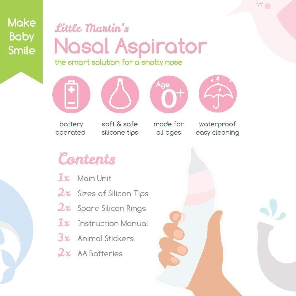 Little Martins Drawer, aspirador nasal para bebé, seguro, rápido, higiénico, ventosa para recién nacidos y bebés, funciona con batería, limpiador de nariz (rosa): Amazon.es: Bebé
