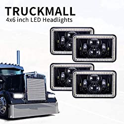 TRUCKMALL 4x6 inch LED Headlights Halo DRL Turn Singal Rectangular Compatible with H4651 H4652 H4656 H4666 H6545 for Peterbil Kenworth Freightinger Ford Probe Chevrolet Oldsmobile Cutlass Black