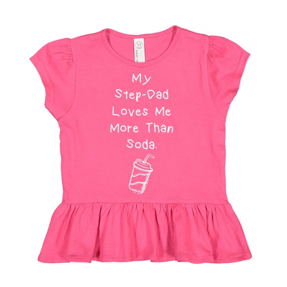 Toddler//Kids Ruffle T-Shirt My Step-Dad Loves Me More Than Soda