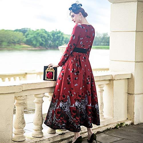 Mode Qaqbdbckl Haute À Manches Maxi La nbsp; Femmes nbsp; Plus Longue nbsp;designer Nouvelle Parti Tranchée Longues Robe Imprimé De Taille Qualité qrtPxw4rpY