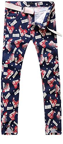 Jeansian Hombres Largo flaco pantalones Slim Fit Jeans pantalones Causal Jeans MJB061 Red