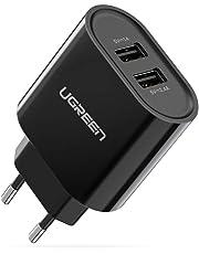 UGREEN 2 Porte Caricabatterie USB da Muro Caricatore USB da Muro 17W 5V 3,4A USB Charger Caricatore da Parete Alimentatore da Viaggio per smartphone, tablet, MP4/MP3, come iPhone X/iPhone 8/8 Plus, Samsung Galaxy Note 8/S9/ S9+/ S8/ S8+, Huawei P20/P10/P9/Mate 9, LG V30/V20/G6 etc. (Nero)