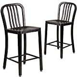 Flash Furniture 2-CH-61200-24-BQ-GG 24'' High Black-Antique Gold Metal Indoor/Outdoor Counter Height Stool with Vertical Slat Back (2 Pack)