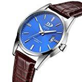 Men's Military Watch, N553 Clearance Trendy Date Slim Quartz Wrist Watch on Sale Leather Band Strap Waterproof Sport Casual Watches by St.Dona (Coffee Blue)