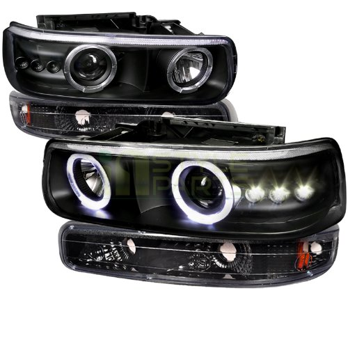 Spec-D Tuning 2LBLHP-SIV99JM-RS Black Projector Headlight (Combo Housing With Bumper