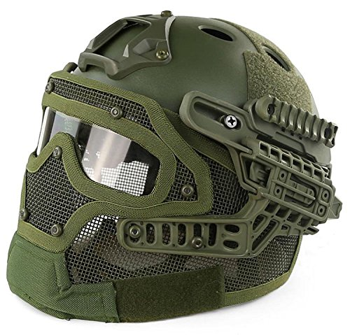 H World Shopping Tactical Protective Helmet Full Face Mask Googgles G4 System Airsoft Paintball Solid Color (OD Green) by H World Shopping
