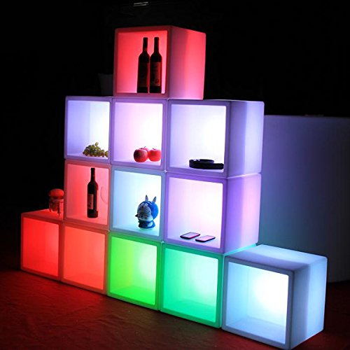 Mr.Go Outdoor/Indoor Rechargeable LED Light SEMI-STORAGE CUBE 16'', Cordless with Remote Control RGB Color Changing Glowing Furniture Cabinet Container End Table Ice Bucket Flower Pot Planter by Mr.Go (Image #2)