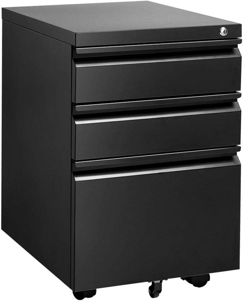 INVIE 3 Drawer File Cabinet with Lock, Metal Vertical Filing Cabinet Under Desk for Legal Letter File Anti-tilt Design Office Rolling File Cabinet(Black A)
