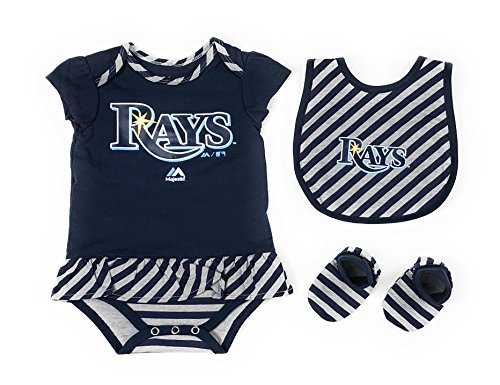 Outerstuff Tampa Bay Rays Girls Baby Clothing, 3 Piece Creeper Bib Booties Apparel Set ()