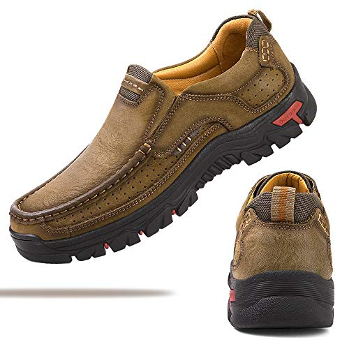 VENSHINE Mens Walking Shoes Leather Lightweight Breathable Casual Slip On Loafers Khaki (Comfort Leather Loafer)