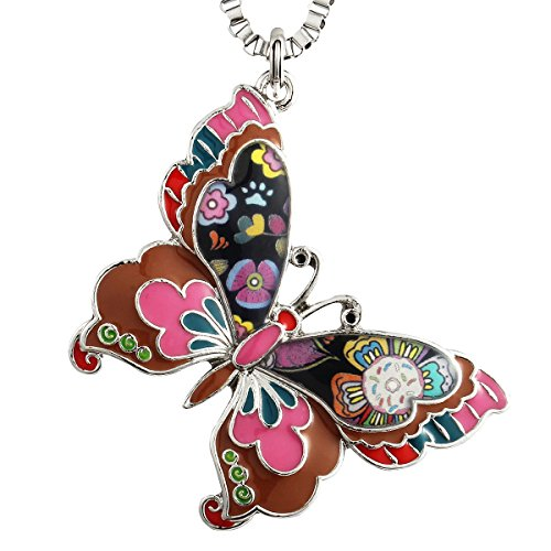 Luckeyui Colorful Butterfly Necklaces & Pendants Gift for Teen Women Lovely Enamel Insect Charm Jewelry