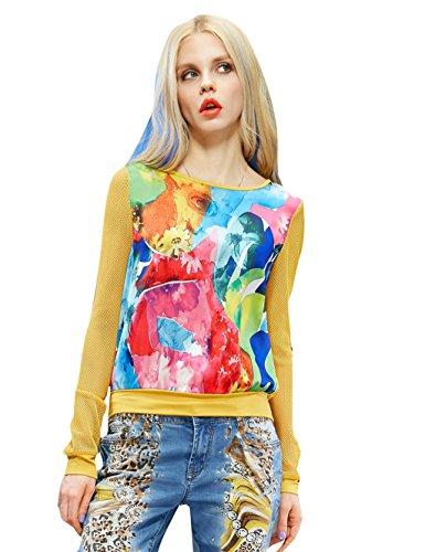 Elf Sack Womens' Summer T-shirt Colorful Print Mesh Small Size Yellow