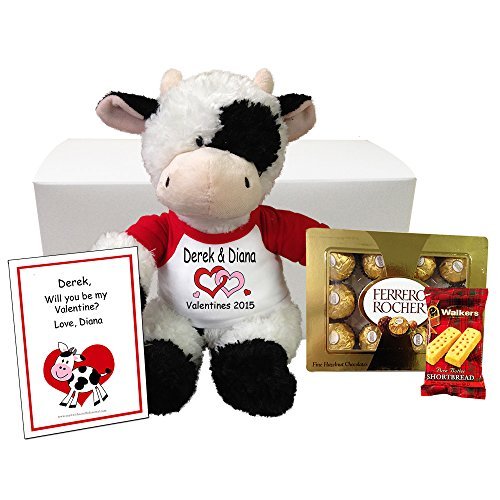 Personalized Stuffed Cow Valentines Gift Set - 12 inch Tubby Wubby (1 Ounce Custom Chocolate)