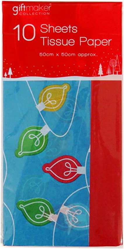 20 Sheets 19.7 x 19.7 Christmas Colored Tissue Paper 5 Festive Colors