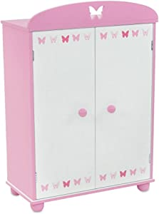 "Emily Rose 18 Inch Doll Furniture | Doll Closet Armoire with Butterfly Detail, Includes 5 Wooden Clothes Hangers | Fits 18"" American Girl Doll Clothes"