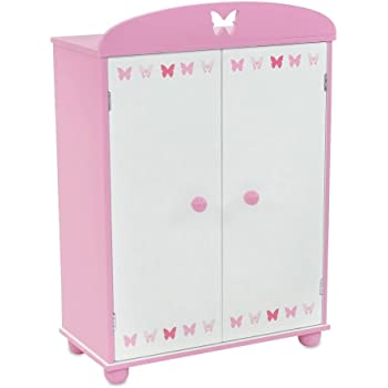 Bon 18 Inch Doll Furniture | Beautiful Pink And White Armoire Closet With  Butterfly Detail Comes With 5 Doll Clothes Hangers | Fits American Girl  Dolls