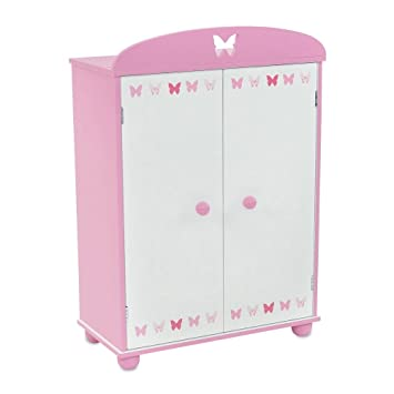 18 Inch Doll Furniture | Beautiful Pink And White Armoire Closet With  Butterfly Detail Comes With