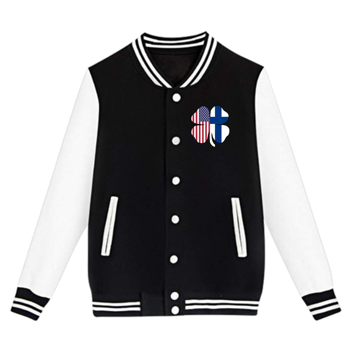 American Finland Flag Shamrock Coat Sweatshirt Outwear NJKM5MJ Unisex Youth Baseball Uniform Jacket