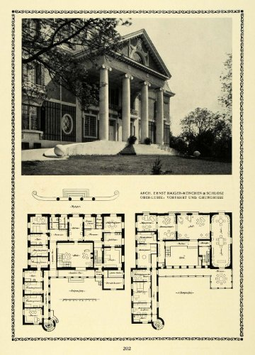 1913 Print Exterior Floor Plans Yard Stairs Columns Large Architecture Designs - Original Halftone (Plans Yard)