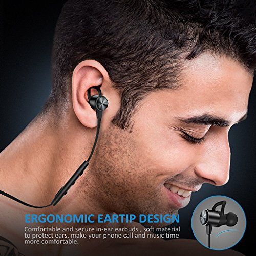 Large Product Image of Bluetooth Headphones, ATGOIN Wireless Headphones 4.1 Lightweight Bluetooth Earbuds, Sweatproof Stereo Wireless Earbuds Noise Cancelling Wireless Earphones Fit for Gym Sports with Built-in Mic