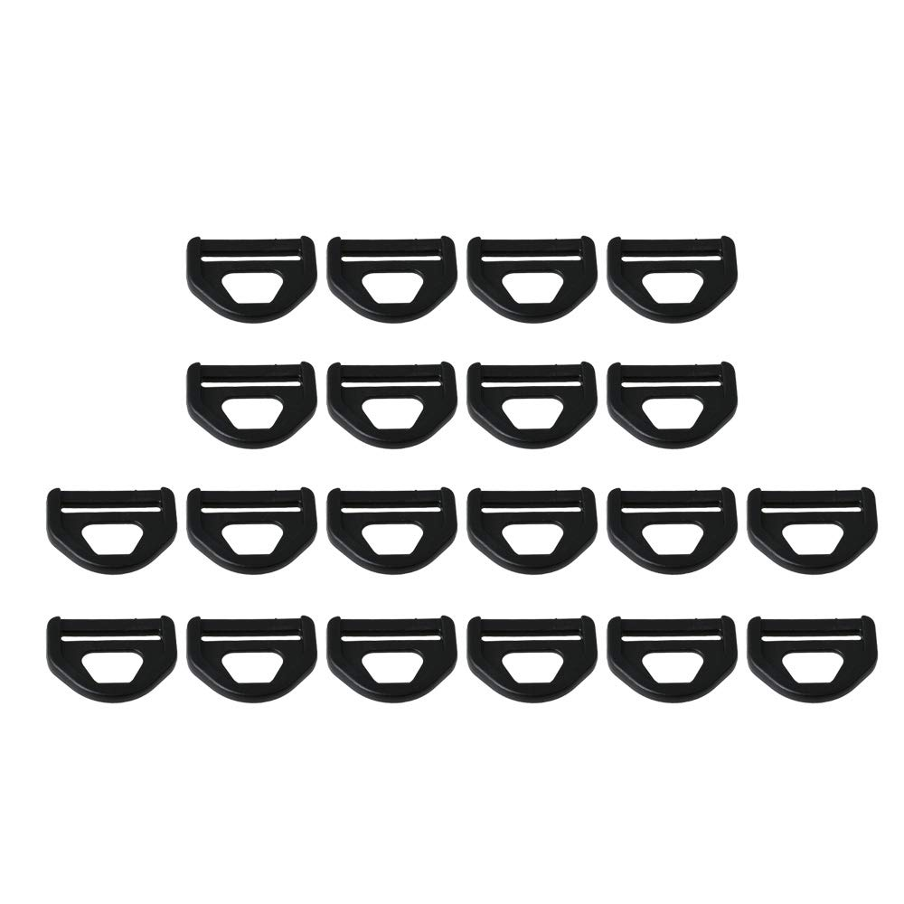 Mxfans 20 Pieces Black D-Type Backpack Straps for Luggage Handbag Accessories