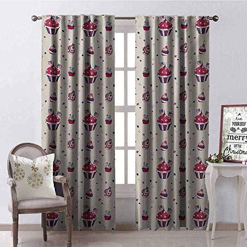 GloriaJohnson USA Heat Insulation Curtain Cupcakes with National Flags Cute Cafe Yummy Homeland July Fourth Caricature for Living Room or Bedroom W52 x L63 Inch Beige Navy Blue Red (Outdoor Cafe Furniture Melbourne)