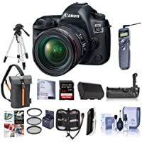 Canon EOS-5D Mark IV Digital SLR Camera Body Kit with EF 24-70mm f/4L IS Lens - Bundle with 64GB U3 SDXC Card, Holster Case, Tripod, Spare Battery, Battery Grip, Software Package, And more