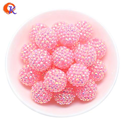 Calvas R30 Calvas 20MM 100Pcs/Lot Transparency Pink Chunky Resin Rhinestone Beads Chunky Beads for Necklace Making CDWB-516019