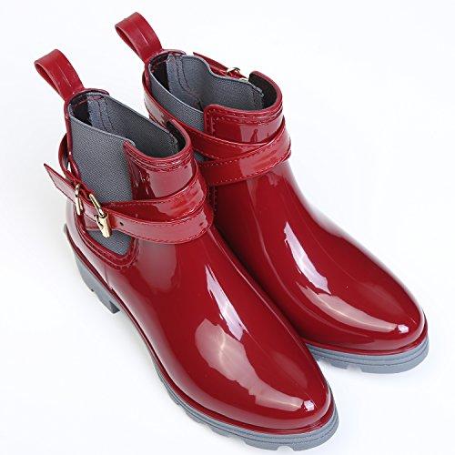 Boot Stivali Scarpe Pioggia Caviglia Gomma Rain Rosso Donna Impermeabile Antiscivolo per q4Uwt14