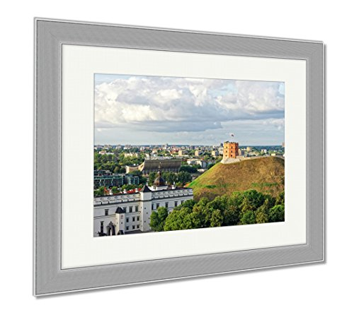 Ashley Framed Prints Gediminas Tower And The Lower Castle In Vilnius In Lithuania, Wall Art Home Decoration, Color, 34x40 (frame size), Silver Frame, - Shops Towers Castle Hill