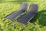 SET OF 2 Garden Sun Beds- Folding Flat Steel Garden Sun Loungers in Black Textoline
