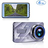 Blusmart Dash Cam, 4 LCD FHD 1080P 170 Degree Wide Angle Dash Camera for Cars, Dashboard Camera Recorder with Video Sensor, G-Sensor, WDR, Loop Recording【2018 Upgraded】