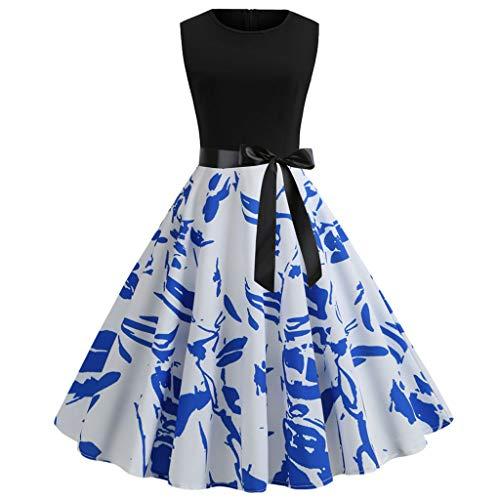 - Rakkiss Women Vintage Skirt Solid Print Splice Belt Hepburn Skirt Lace Splice Dress A-Line Elegant Exquisite Dress