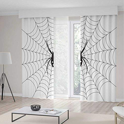 C COABALLA Window Curtains,Spider Web,Living Room Bedroom Curtain,Poisonous