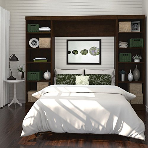 """Bestar Pur 109"""" Full Wall Bed with 2 Piece Storage Unit in Chocolate"""
