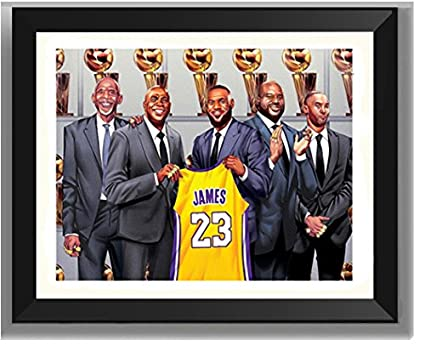 ASENER Los Angeles Lakers Lebron James No. 23 Camiseta Wall Art Decor Autograph Photo Frame