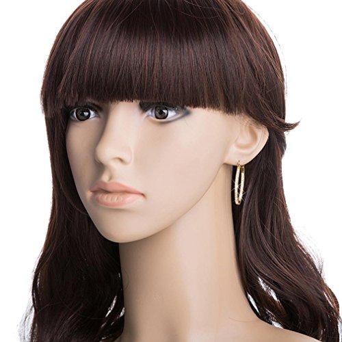 YAZILIND 18K Or Elégant Plaqué Zircon Grande Boucles d'oreilles créoles pour les femmes